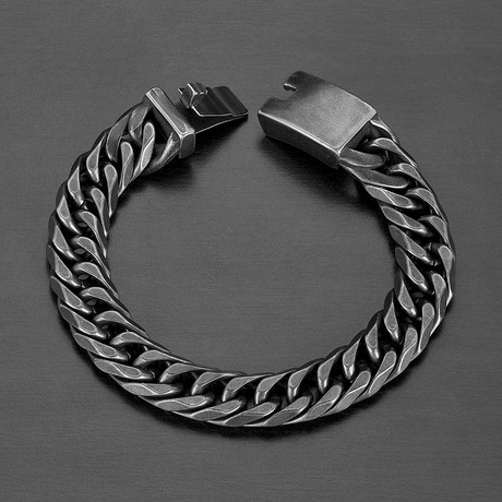 Antiqued Stainless Steel Curb Chain Bracelet // Gray