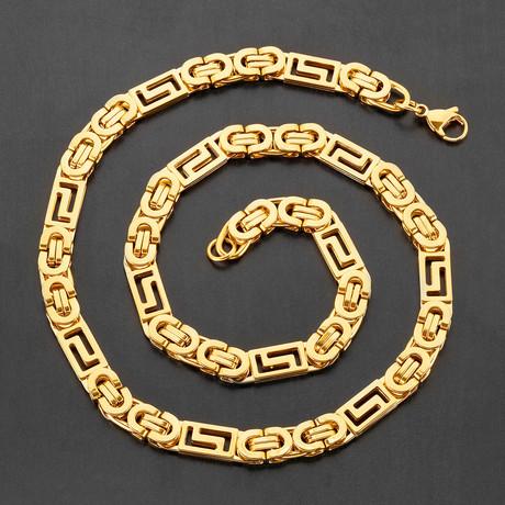 Greek Key Flat Byzantine Chain Necklace (White)
