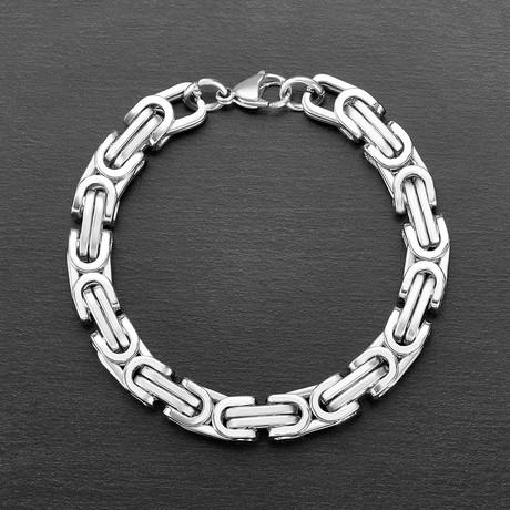Polished Byzantine Chain Link Bracelet (Silver)