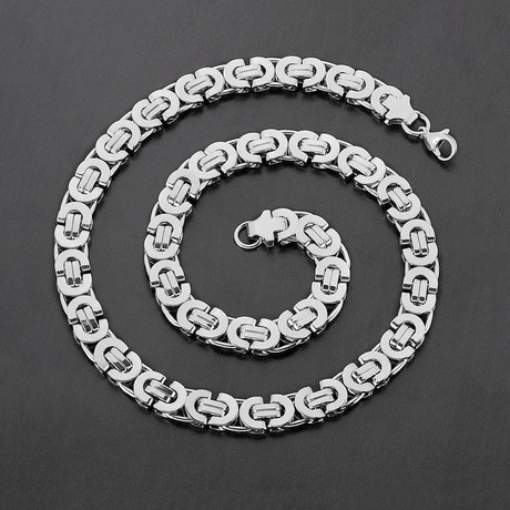 Flat Byzantine Chain Necklace (Silver)