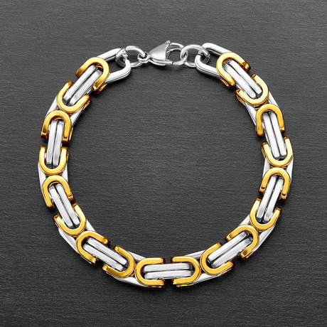 Polished Byzantine Chain Link Bracelet // Gold + Silver