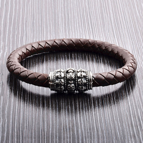 Skull Bead + Braided Leather Bracelet // Brown + Silver