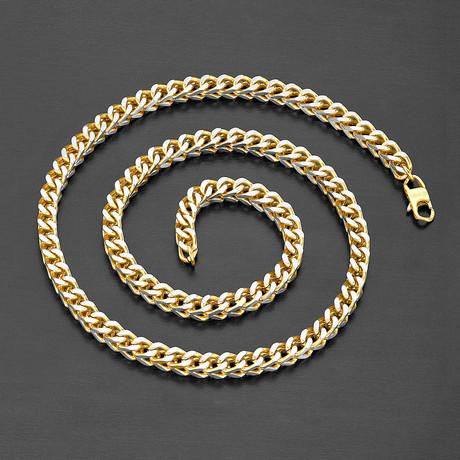 Matte Two-Tone Franco Square Box Chain Necklace (Gold + Silver)