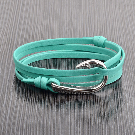 Hook Clasp + Leather Adjustable Wrap Bracelet (Turquoise + Silver)