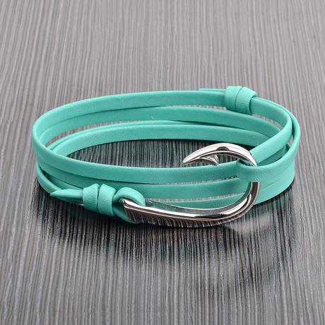 Hook Clasp + Leather Adjustable Wrap Bracelet // Turquoise + Silver