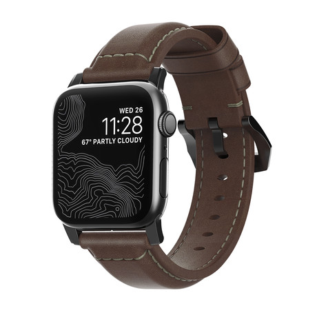 Traditional Strap // 40mm/38mm // Brown Leather + Black Hardware