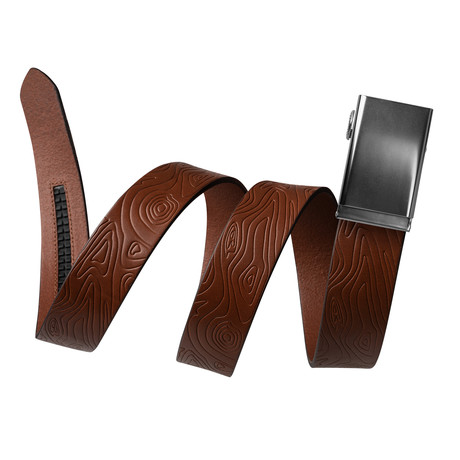 "Topographical Leather Belt + Pinless Buckle // Tobacco Brown (Small // 28""-32"" Waist)"