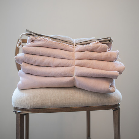 Belgian Flax Linen Sheet // Light Pink (Fitted Sheet // King)