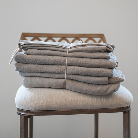 Belgian Flax Linen Sheet // Dove Gray (Fitted Sheet // King)