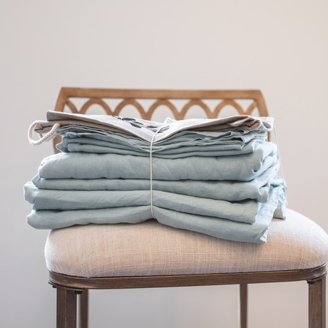 Belgian Flax Linen Sheet // Seafoam (Fitted Sheet // King)