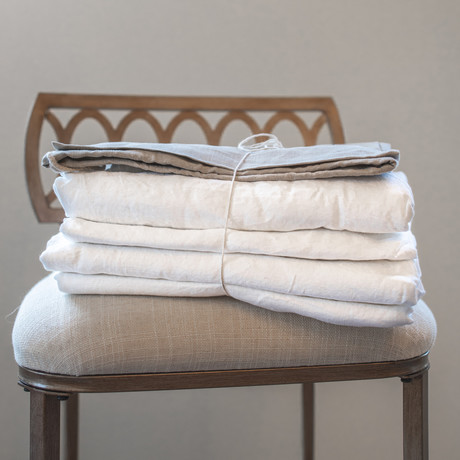 Belgian Flax Linen Sheet // Arctic White (Fitted Sheet // King)