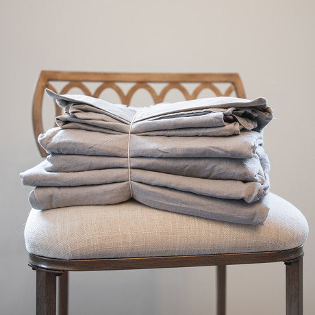 Belgian Flax Linen Sheet // Smokey Gray (Fitted Sheet // King)