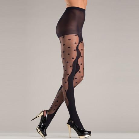Polk Dot Panels Pantyhose // Black // One Size