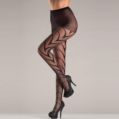 Deco Art Lines Pantyhose // Black // One Size
