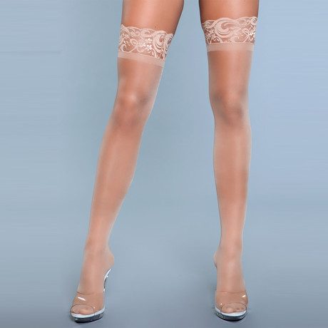Lace Over It Thigh Highs // White // One Size