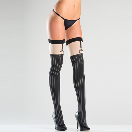 Pinstripe Thigh Highs // Black // One Size
