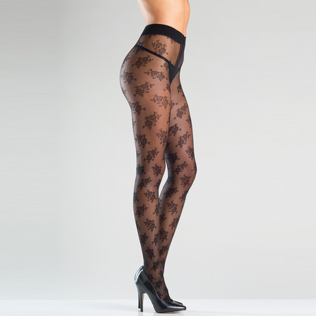 Floral Feels Pantyhose // Black // One Size