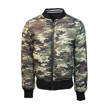MA-1 Reversible to Camo Bomber Jacket // Black (M)