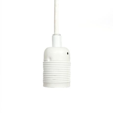 E27 Pendant Light // Painted Steel (Matte White + White Cable)