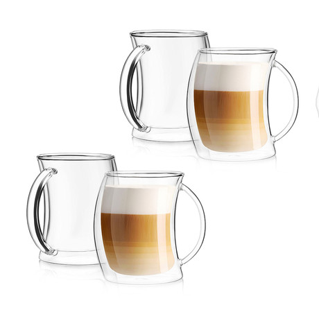 Caleo Double Wall Coffee Glasses // 13.5 oz // Set of 4