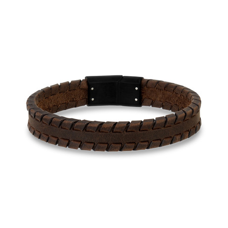 "Tire Track Leather Bracelet // 12mm // Brown (7.5""L)"