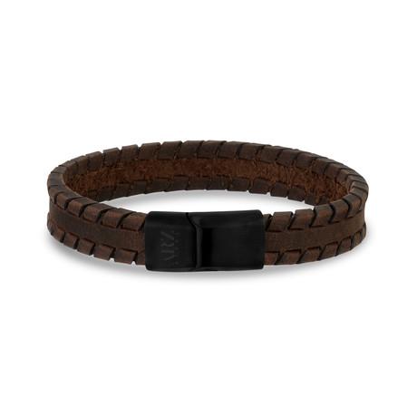 "Tire Track Leather Bracelet // 12mm // Brown (7.5"")"