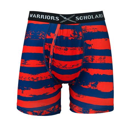 Stripes Warrior Fit Moisture Wicking Boxer Brief // Blue + Red (S)
