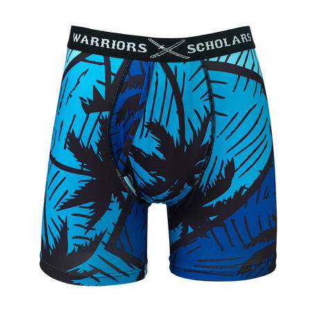 Hollywood Warrior Fit Moisture Wicking Boxer Brief // Black + Blue (S)