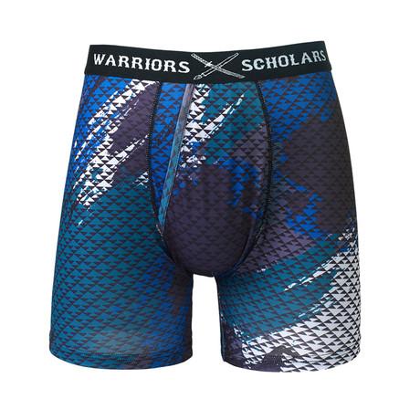 Valor Warrior Fit Moisture Wicking Boxer Brief // Black + Blue + Gray (S)
