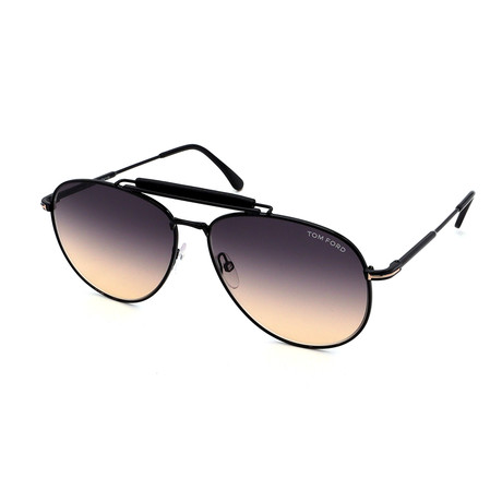 Men's FT0536-01B Aviator Sunglasses // Black + Gray Gradient
