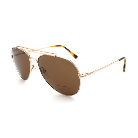Men's FT0497-28H Aviator Sunglasses // Gold + Brown