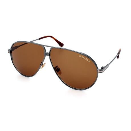 Men's FT0734H-12E Sunglasses // Gunmetal + Brown