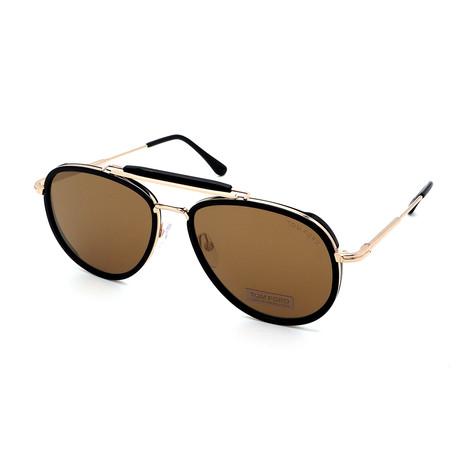 Men's FT0666-01G Sunglasses // Black + Gold + Brown