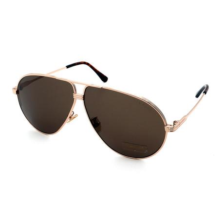 Men's FT0734H-28E Sunglasses // Gold + Dark Brown