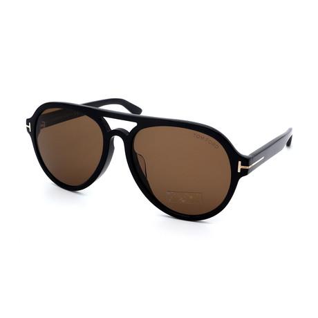Men's FT0596-01J Aviator Double Bridge Sunglasses // Shiny Black + Dark Brown