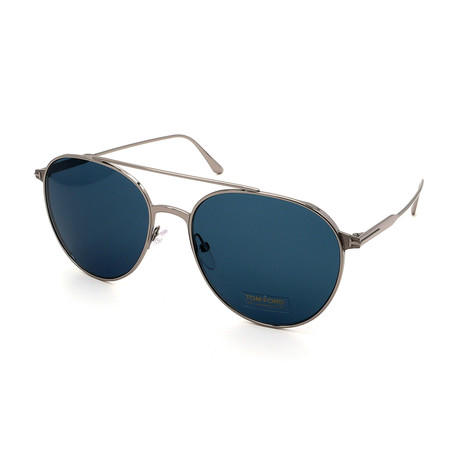 Men's FT0691-14V Round Sunglasses // Silver + Blue Gray