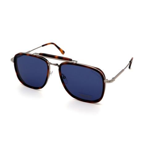 Men's FT0665-53V Double Bridge Sunglasses // Tortoise + Silver + Blue