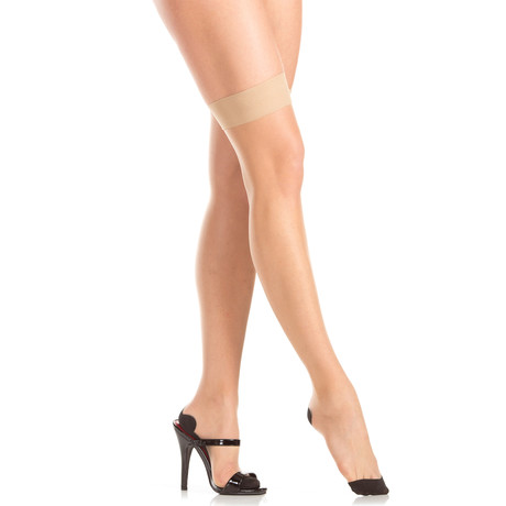 Back Seam Thigh Highs // Nude // One Size