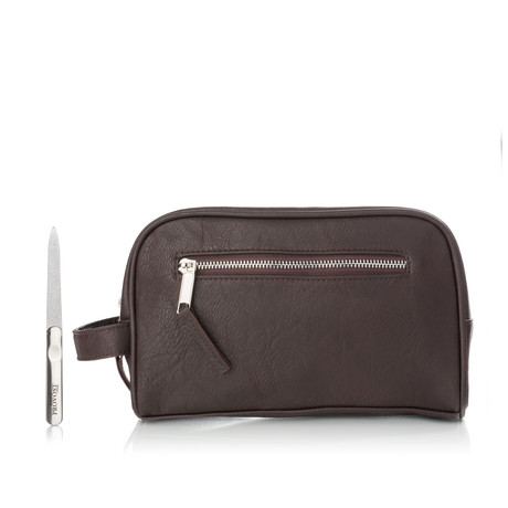 Brushed Stainless Steel Nail File + Toiletry Bag