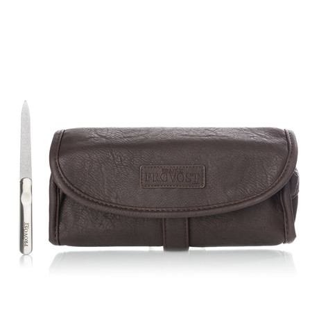 Brushed Stainless Steel Nail File + Hanging Toiletry Bag