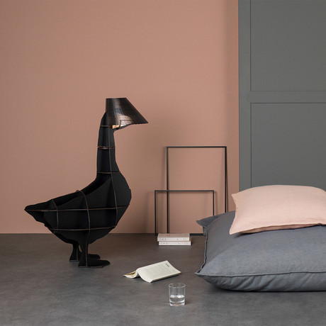 Junon Iluminated Goose // Bedside Table (Brushed Black)