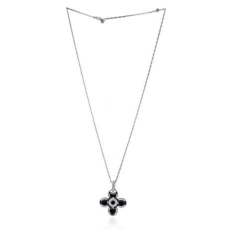 Roberto Coin 18k White Gold + Enamel Diamond Necklace