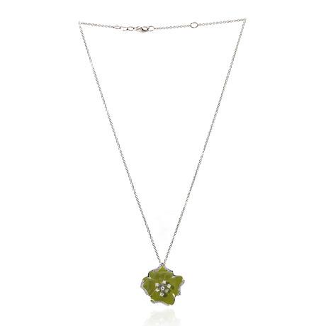 Roberto Coin 18k White Gold Diamond Flower Necklace