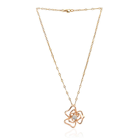 Roberto Coin 18k Two-Tone Gold Diamond Flower Necklace