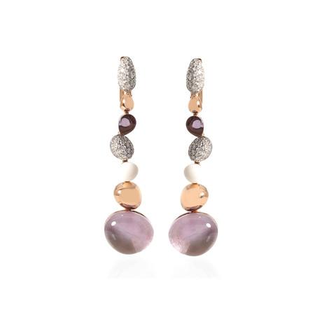 Roberto Coin 18k Rose Gold Diamond + Amethyst Drop Earrings