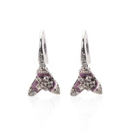 Roberto Coin 18k White Gold + Enamel Diamond Huggie Earrings