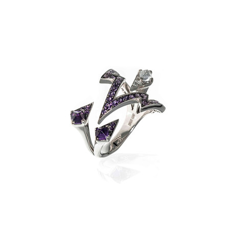Stephen Webster Lady Stardust 18k White Gold Diamond + Sapphire Ring // Ring Size: 6.75