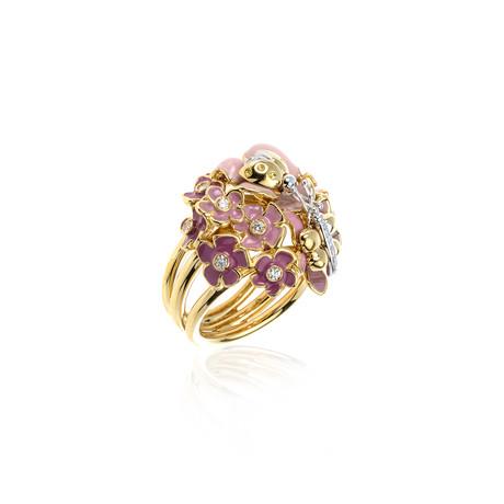 Roberto Coin 18k Yellow Gold + Enamel Diamond Ring // Ring Size: 6.5