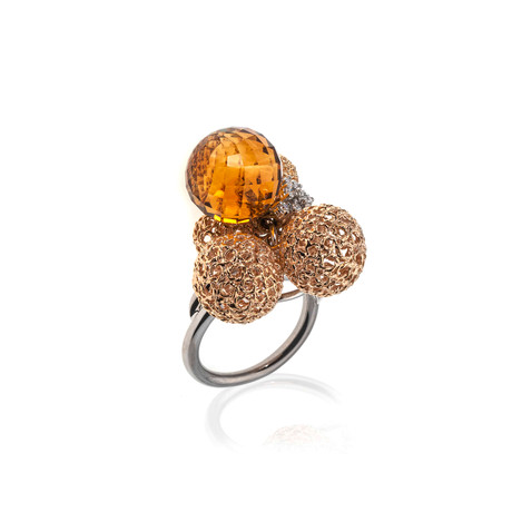 Roberto Coin 18k Gold Diamond + Citrine Ring // Ring Size: 6.75