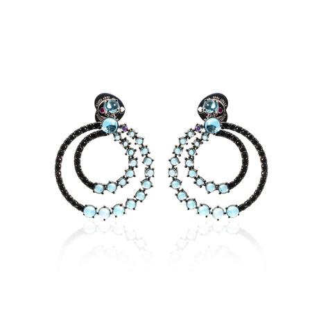 Roberto Coin 18k White Gold Black Diamond + Topaz Drop Earrings